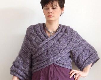 Casual  couture shrug / kimono grey-lavender criss-cross shrug / hand knitted shrug / AVANT GARDE fall fashion