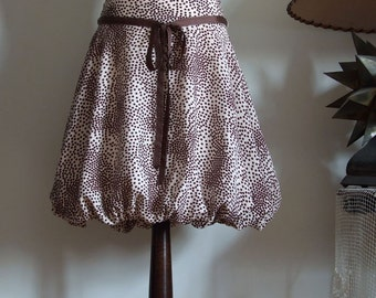Baloon skirt, puffy skirt, Vanilla cream with chocolate brown, spring summer skirt, streetwear skirt, avant garde clothing women teens