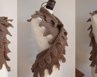 Avant garde soft scarf, cocoa raspberry coffee scarf, hand knitted shawl, long spring scarf, fringed wrap shrug, mother's day gift under 100