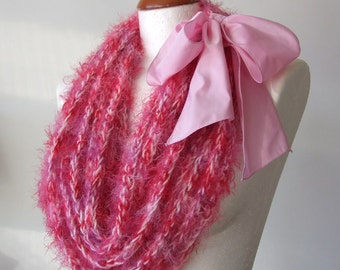 Avant garde scarf necklace candy pink, textile necklace, wedding infinity scarf, bridal lariat, Mother's day gift under 50 dollars