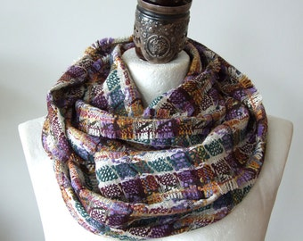 Infinity scarf, loop, circle spring colors green, lilac and burgundy plaid, fashionable soft Italian tweed, fashion statement