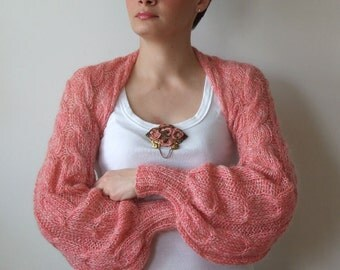 Golden rose SHRUG with silver sparkles light as a whisper long puffy sleeves wedding shrug, hand knitted shrug, Mother's Day gift under 100
