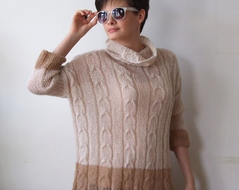 Braided oversized sweater tunic spring fashion, color block in cream with caramel modern urban 3/4 sleeves cabled