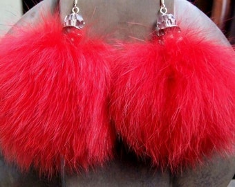 Fox fur earrings in bright red with clear faceted czech crystal, winter earrings, boho earrings, winter pompoms earrings, fur pompoms