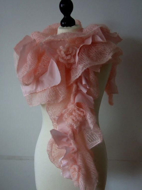 Delicate PASTEL powder pink mohair scarf, shawl, wrap, wedding shawl, Mother's Day gift under 100 dollars