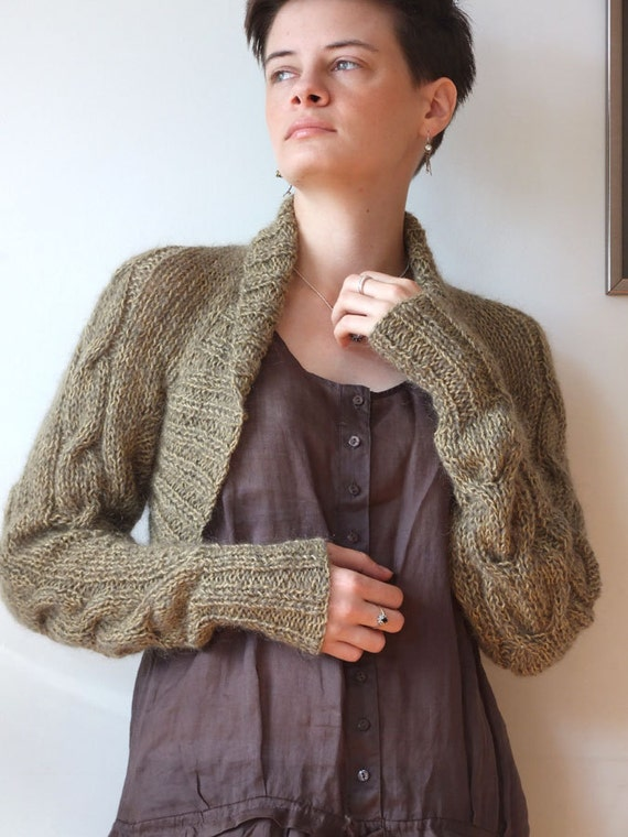 Avant garde braided SHRUG in fall foliage with long sleeves modern urban hand knitted