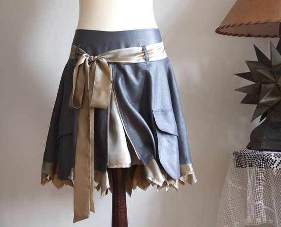 Natural linen  SKIRT with cargo pockets and silky ruffles petrol gray with ash yellow
