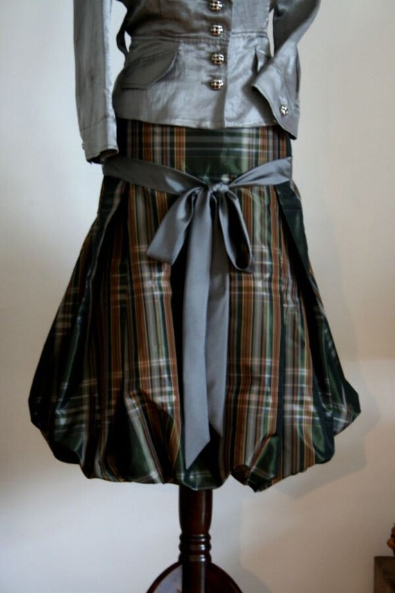 PUFFY PLAID TAFFETA SKIRT