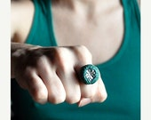 50% Off SALE Irish Shamrock Ring in Shimmering Green Polymer Clay