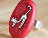 Foxy Woodland Ring in Golden Red Polymer Clay