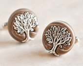 Wedding Tree of Life Cufflinks in Woodland Earthy Brown and Pearl Clay Great Groom and Groomsmen Gift, Men, For Him, Father of the Bride
