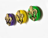 Mardi Gras Fleur De Lis Magnets Antiqued Gold in Yellow, Purple and Bright Green Polymer Clay Party Favor Gift Set of 3 for Men or Women