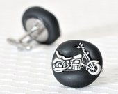 Motorcycle Cufflinks for Manly Men Grooms and Groomsmen or Father's Day in Black Polymer Clay - Custom Wedding Colors Available