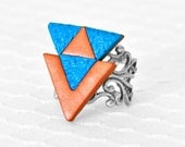 Geometric Tribal Fashion Ring Southwest Triangle Arrows in Turquoise and Copper Polymer Clay with Adjustable Silver Filigree Ring Base