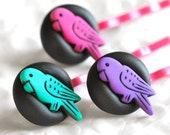 Neon Tropical Parrot Hair Pins in Hot Pink, Aqua and Purple Great for Exotic Beach Destination Weddings in Black Polymer Clay