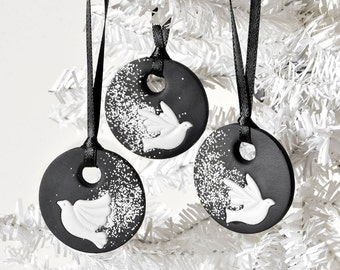 Winter Dove Ornaments Flying in the Snow Black Polymer Clay Handmade Christmas Holiday Gift Set of 3. Perfect for Housewarming, Hostess Gift