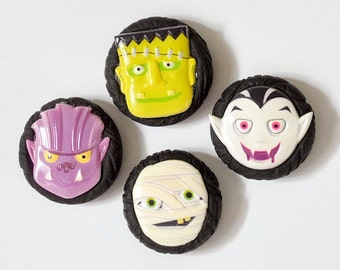 Spooky Monster Halloween Magnets Vampire Werewolf Mummy Frankenstein's Monster in Black Polymer Clay Handmade Gift Set of 4