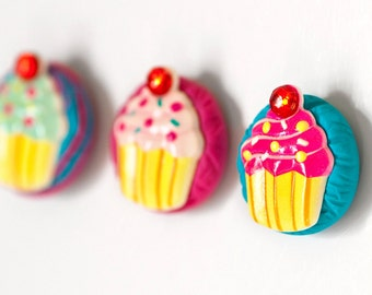 Happy Cupcake Magnets Colorful Summer Back to School Gift Set in Bright Magenta and Turquoise Polymer Clay