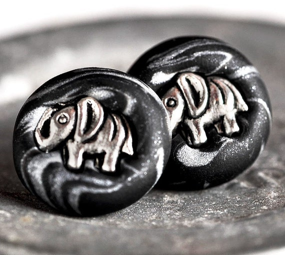 Safari Elephant Black Earrings Jungle Animals with Silver Swirls Polymer Clay Surgical Stainless Steel Posts
