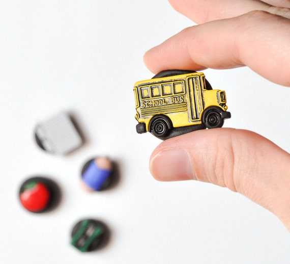 CUSTOM RESERVED LISTING for siennayloy - Back to School Days Primary Colors Rare Earth Magnets in Black Polymer Clay Teacher's Gift Set
