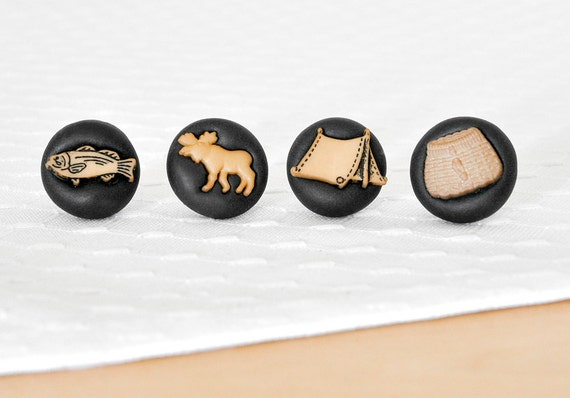 Camping Pushpins Featuring Fish, Moose, Picnic Basket and Tent Gift Set of 4 Summer Push Pins in Black Polymer Clay