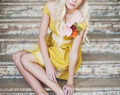 Mustard Yellow Lace and Linen Dress