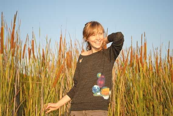 Black Eco Pullover with Planets