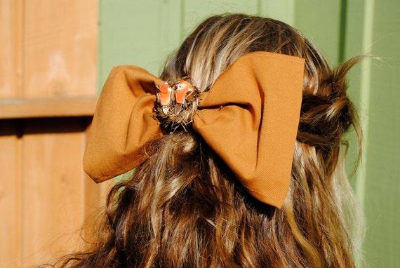 Large Orange Hair Bow and Bird nest