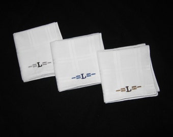 Monogrammed Handkerchiefs Mens White Tonal with Initial