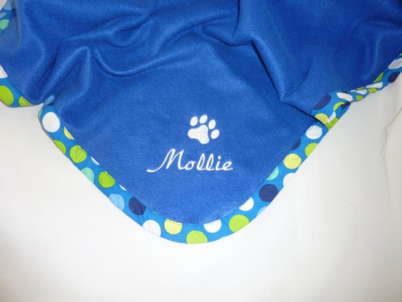 Pet Blanket   Personalized   Polka Dot