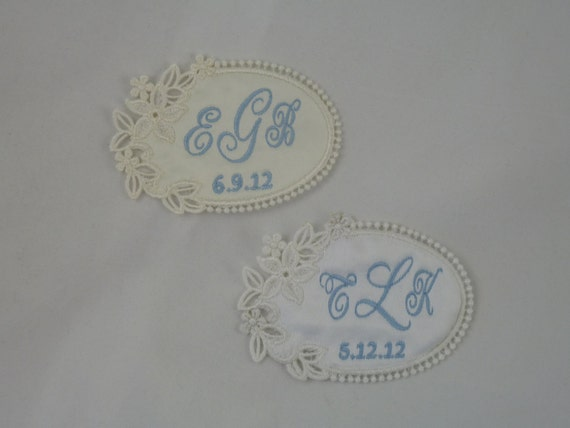 Wedding Dress Label  Floral Lace Oval