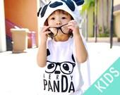 NerDy PanDa KIDS T-Shirt - White / Black - Kid Sizes 2T, 4T, 6T