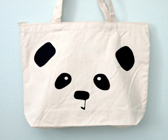 Panda Face Zippered Canvas Tote Bag