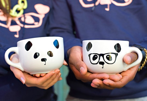 Panda Face / Nerdy Panda - Ceramic Soup Mug