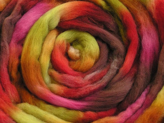 200g Space-dyed Falkland Wool Top - Tropical Fruit