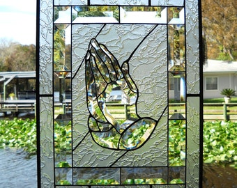 The Praying Hands as Stained Glass Panel Beveled Panel