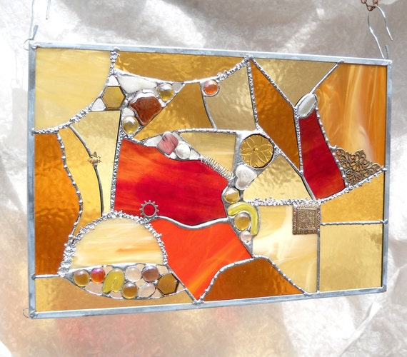 Stained Glass Panel Crazy Quilt in Yellow, Amber, Gold, Orange
