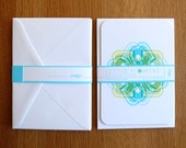 Letter Flowers Notelets, 8 notelets and envelopes. Blue. Letter B.