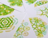 letter Flowers Notelets, 8 notelets and envelopes. Green. Letter L.