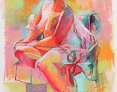 Colorful Abstract Drawing of Woman Seated in A Chair in Lime Green, Tangerine and Pink. Original Pastel Drawing