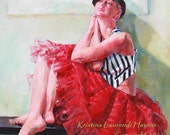 Beautiful Woman Modeling Stripes and Red Tulle Skirt - Large Fine Art Reproduction of Acrylic Painting