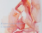 Original Watercolor Painting Figure Art, Standing Female Model in Soft Reds