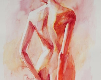 B.e.a. - Female Back in Soft Reds - Open Edition Fine Art Print
