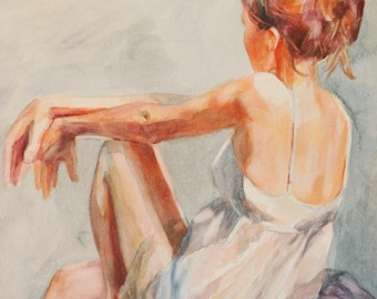 Watercolor Painting Female Model Wearing a Slip - Open Edition Print of Original Art