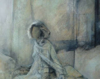 Original Art Painting in Olive and Gold, Seated Female Figure