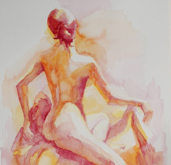 Open Edition Print of a Watercolor Painting - Female Back in Warm Orange and Red -