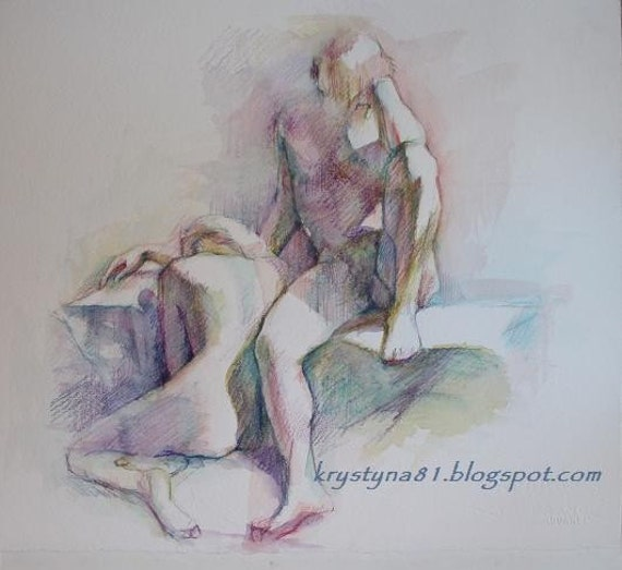 The Couple, A Moment of Reflection Original Watercolor Drawing