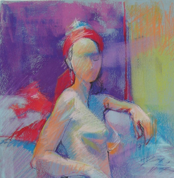 Colorful Pastel Figure Drawing of Model Wearing a Red Scarf - Original Fine Art Drawing
