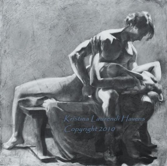 "Original Charcoal Drawing of a Man Holding a Woman - ""Come Back to my Heart"""