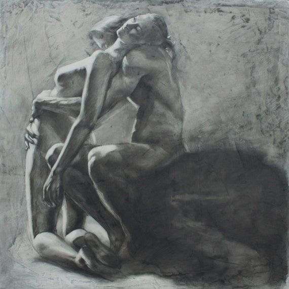 "Charcoal Drawing of a Couple - Original Fine Art ""Moment of Surrender"" -"
